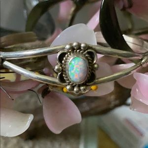 Antique sterling natural opal cuff